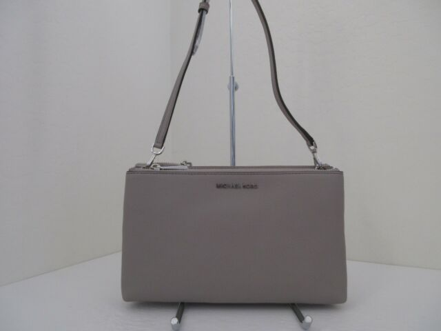 NWT AUTH MICHAEL KORS DOUBLE ZIP PEBBLE LEATHER CROSSBODY BAG- 198-PEARL  GREY c76dd95cd07c5