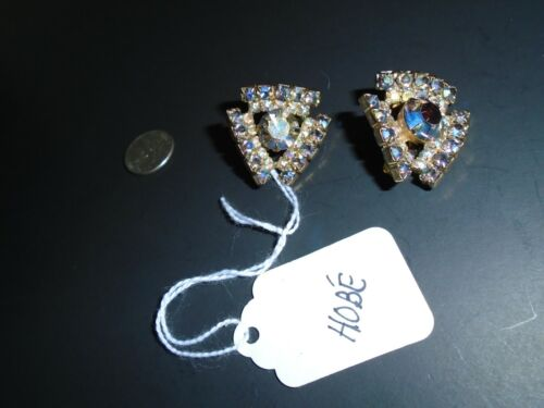 HOBE' vtg aurora borealis clip earrings - image 1