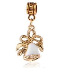 1pcs 18k Gold Christmas bells Charm Pendant fit European Silver Bracelet AD439