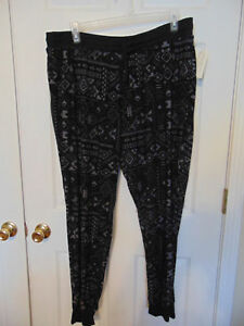 new-WOMENS-knit-Pants-size-3x-black-gray-geometric-drawstring-cuff-lounge-T17