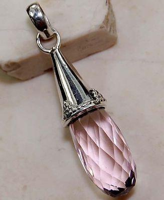 "PENDANT Enchanting New 18ct Pink Quartz Faceted Prism 925 Sterling Silver 1.75"""