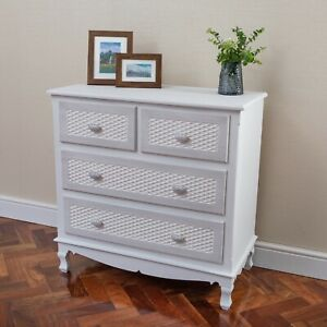 White-Shabby-Chic-Chest-of-4-Drawers-Solid-Wood-Ornate-Legs-Fully-Assembled