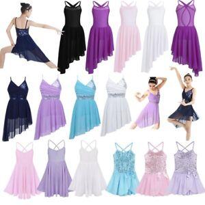 Girls-Lyrical-Latin-Ballet-Dance-Dress-Kids-Leotard-Tutu-Skirt-Gymnastic-Costume