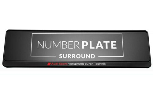 1 x Premium Black Stainless Steel Number Plate Holder for any Audi Sport