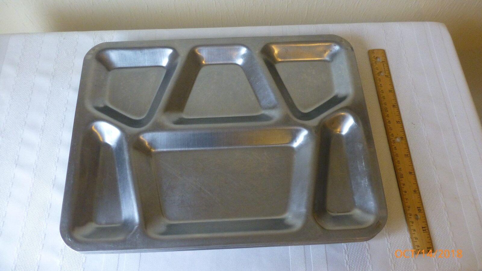Vintage steel prison Military cafétéria Heavy Duty déjeuner Barquette Alimentaire 1951 lot de 5
