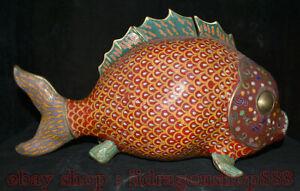 """18 """"Chinois Cloisonné Émail Bronze Dynastie Animal Poissons Pot Pot Crock Statue"""