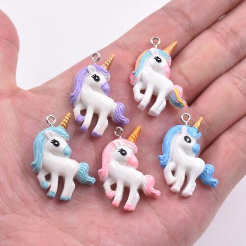 10X Mixed Color Cartoon Unicorn Pony Resin Charm Pendant For DIY Jewelry Making