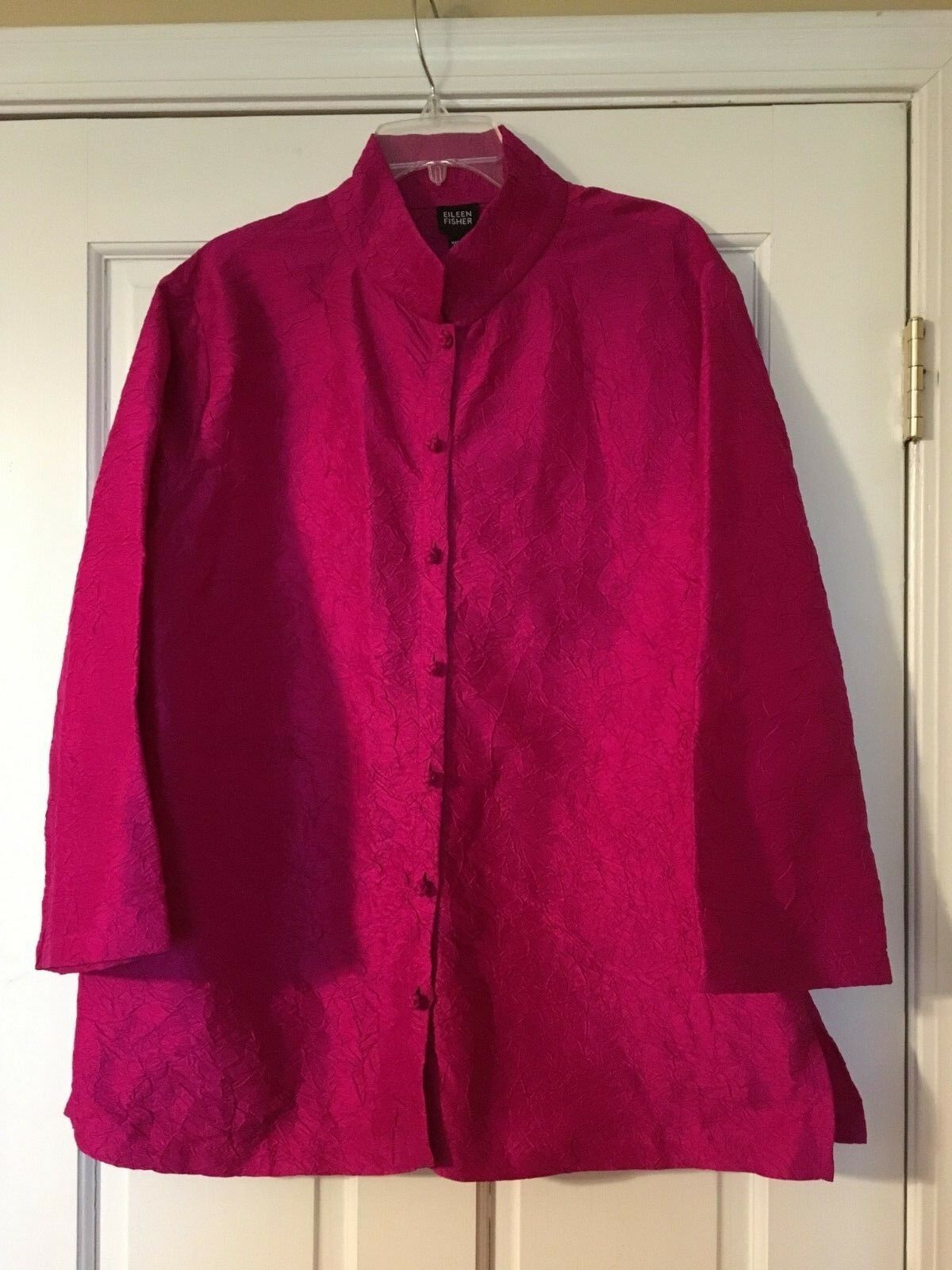 EILEEN FISHER Jacket Top Größe Large Rosa Crinkle Silk Mandarin Collar