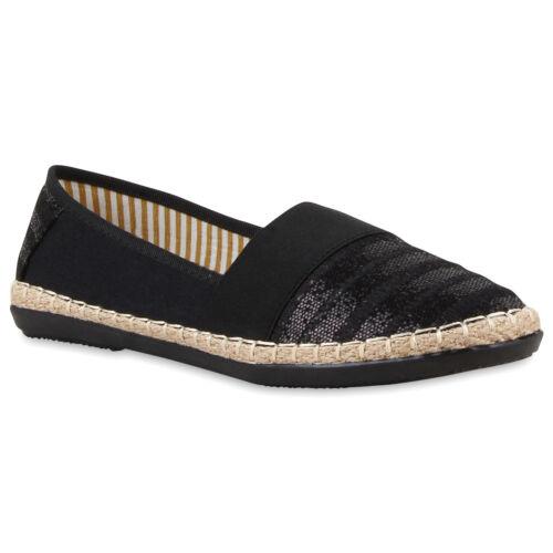 Damen Bast Espadrilles Glitzer Streifen Slipper Beach 79640 Schuhe