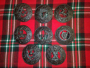 TC Men's Kilt Fly Plaid Brooches Lion Rampant Antique//Scottish Thistle Brooches