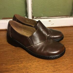 Clarks-Shoes-Women-Size-9-Brown-Leather-Slip-On-Loafer-Clog-32446-Good-Condition