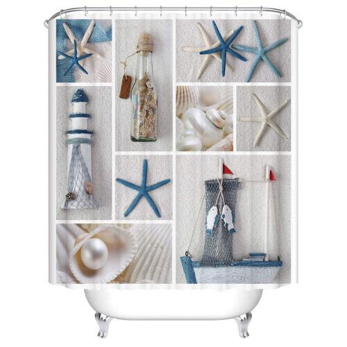 Waterproof Home Bathroom Shower Curtain Polyester Fabric 12 Hook Beach Landscape