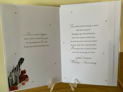 Emerald Wedding Anniversary for Husband Green Foil Quality Card Celebrate 55 yrs