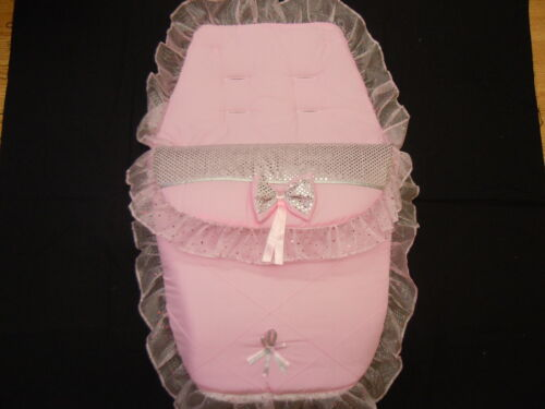 BEAUTIFUL PINK //SILVER PRAM  COSYTOES // FOOTMUFF  ROMANY  STYLE BLING COLOUR