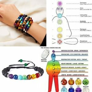 7-Chakra-Healing-Balance-Beaded-Lava-Bracelet-Natural-Stone-Yoga-Reiki-Prayer