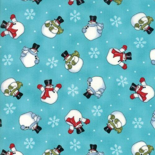 Snow Much Fun 19803 11  MODA Fabric by the 1//2 yd Aqua Ice Blue Snowman
