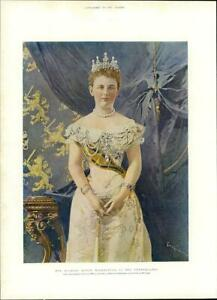 1901-COLOUR-Antique-Print-PORTRAITS-Queen-Wilhelmina-Netherlands-394
