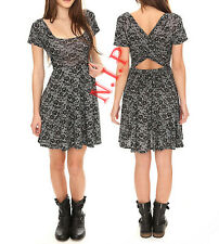 Hot Topic Punk Visual Kei Gothic Black & White Lace Print Open Cross Back Dress