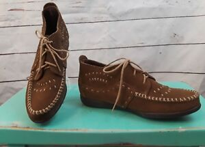 Minnetonka-Womens-Brown-Suede-Leather-Lace-Up-Ankle-boots-Size-6M
