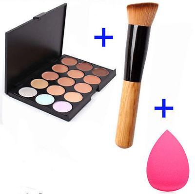 Pro 15 Colors Makeup Contour Face Cream Concealer Palette+Powder Brush+Sponge UR