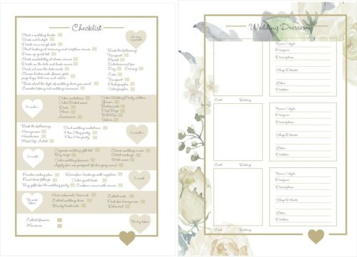 Ideal Gift A4 Wedding Planner//Organiser featuring Personalised Metallic Heart