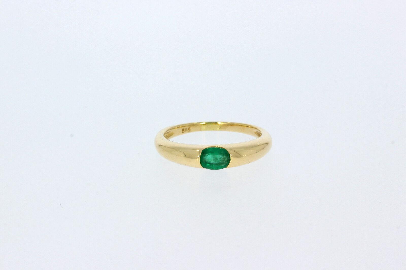 8899-585er yellowgoldring mit Smaragd Ringgroße 55 Gewicht 3 Gramm