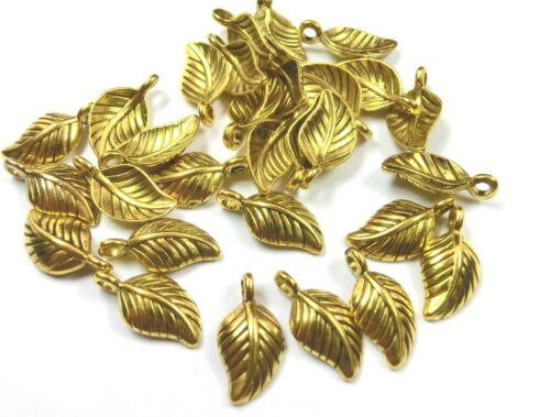 30 Charms hoja bettelanhänger 11x7mm remolque color Antik oro #s580