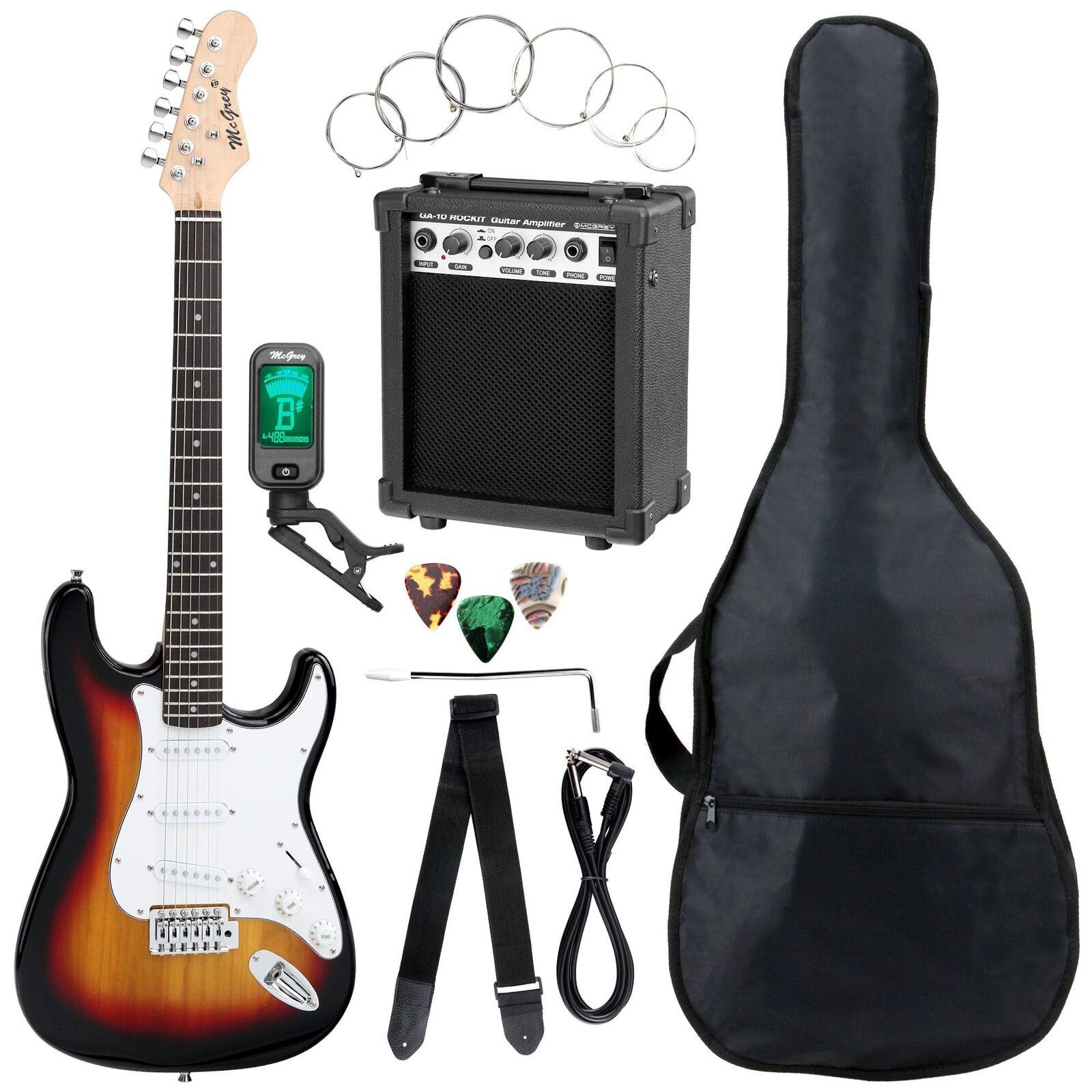 Top Sunburst E-Gitarre Einsteiger Set mit Stimmgerät Gigbag Tragetasche & Amp