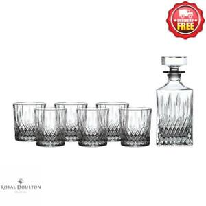 ROYAL DOULTON EARLSWOOD WHISKEY TUMBLER SET OF 6 w DECANTER NEVER