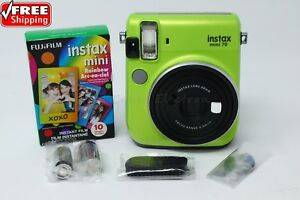 Fujifilm Instax Mini 70 Green Instant Film Camera Bundle Free 10 Rainbow Films 74101035650