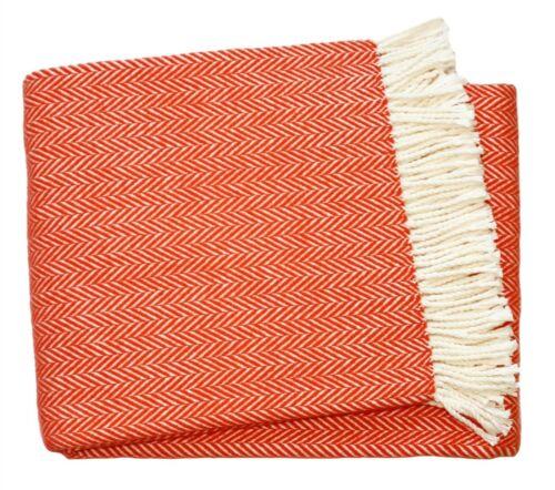 Orange Herringbone Crème barbu en coton mélangé Throw Blanket 140 cm x 180 cm