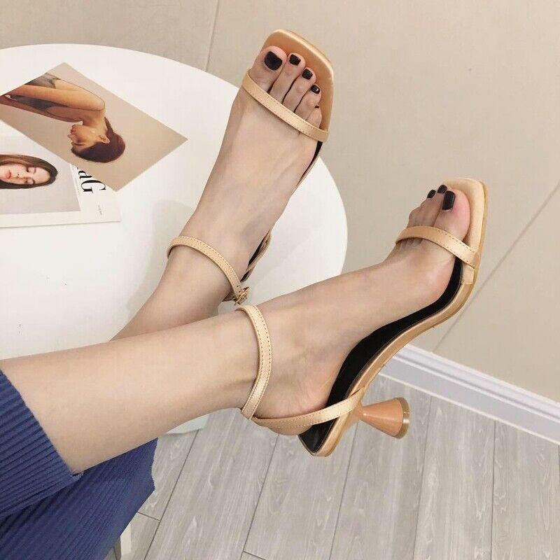 Ciabatte eleganti sandali tacco rocchetto beige 5  eleganti pelle sintetica 1106