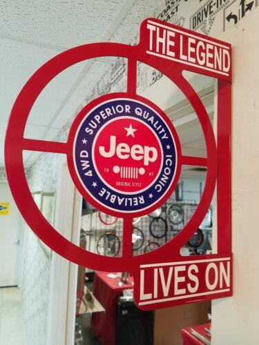 VINTAGE JEEP SALES RETRO VINTAGE ERA DEALERSHIP SERVICE COUNTER  FLANGE SIGN