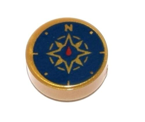 LEGO COMPASS ~ Round Pearl Gold 1x1 Tile with Compass Printed Pattern NEW *