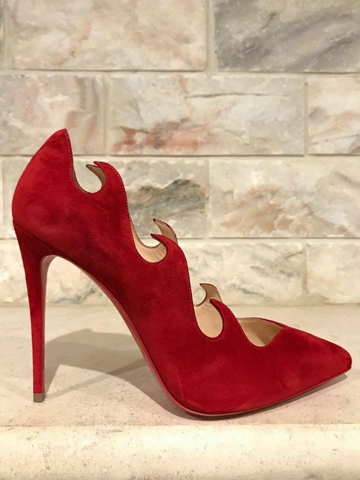 NIB Christian Louboutin Olavague 100 Red Suede Flame Wave Heel Pump shoes 35.5
