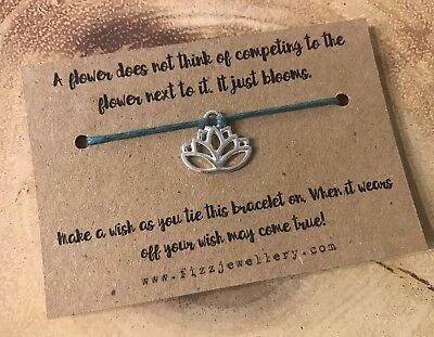Yoga Lotus Flower Silver Plated Tie On Message Card Wish Bracelet Yogi Gift Ebay