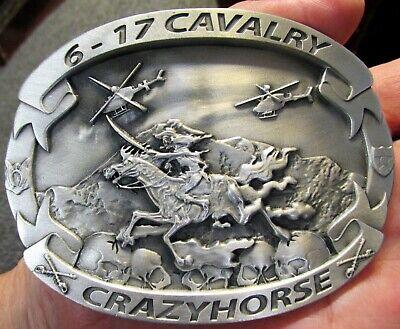 6-17 Cavalerie Crazy Horse Buckle 3 1/40.6cm X 10.2cm Skelett Pferd Waren Jeder Beschreibung Sind VerfüGbar