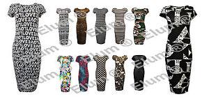New Womens Ladies Cap Sleeves Army Leopard Stripes Printed  Bodycon Midi Dress
