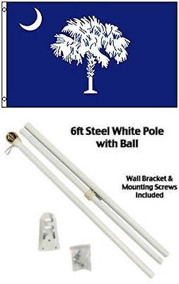 Helder 3x5 State Of South Carolina Flag White Pole Kit Gold Ball Top 3'x5' Een Unieke Nationale Stijl Hebben