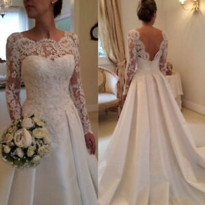 Whiteivory lace sleeve wedding dress a line satin bridal gown size image is loading white ivory lace sleeve wedding dress a line junglespirit Images