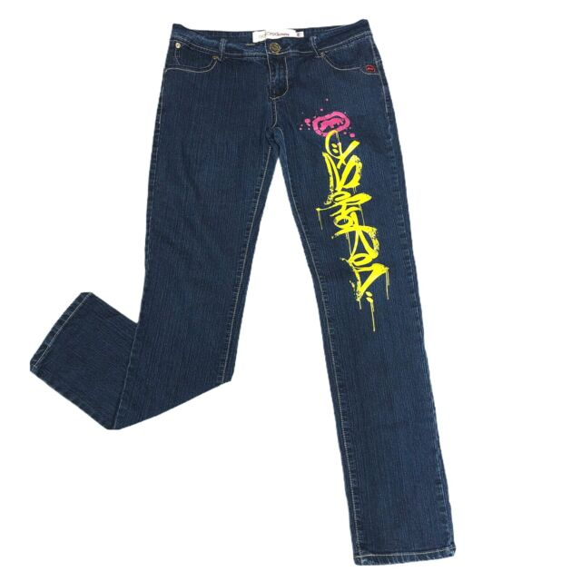 Ecko Red Denim Women's Size 7/8 Jeans Blue Straight Mid Rise Graffiti Graphics