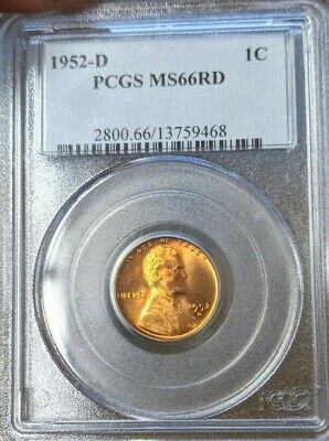 1953-D BU Lincoln Wheat Cent Penny PCGS MS66RD Red 1c Unc Coin RD MS66 US