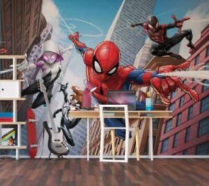 Details About Spider Man Bedroom Wallpaper Childrens Photo Wall Mural Comics Marvel Characters