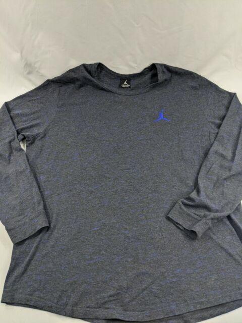 Nike Air Jordan Long Sleeve Henley Athletic Shirt Gray Blue Jumpman Mens XXL