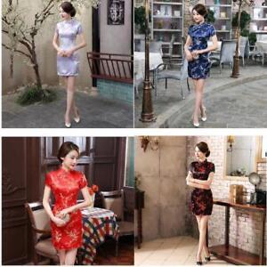 fc6e45ea1 New Elegant Chinese Women's Silk Satin Mini Dress Cheongsam Qipao ...