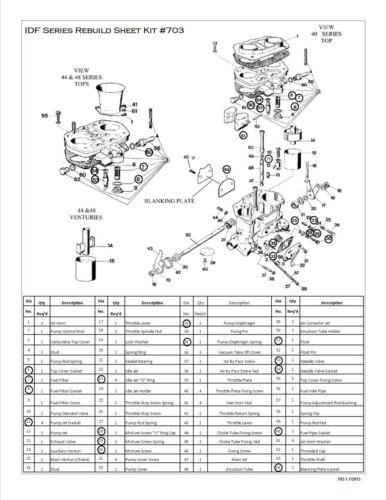 WEBER 40-44-48 IDF CARBURETOR REBUILD KIT WITH FLOAT HPMX 40-44 RADKE 703