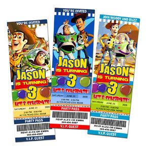 Toy Story Birthday Party Invitation Ticket 1 2 3 Invite Custom Jess