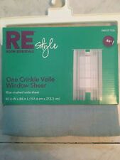 "Crushed Voile Sheer Rod Pocket Window Curtain Panel, Blue 40"" W x 84"" L,"