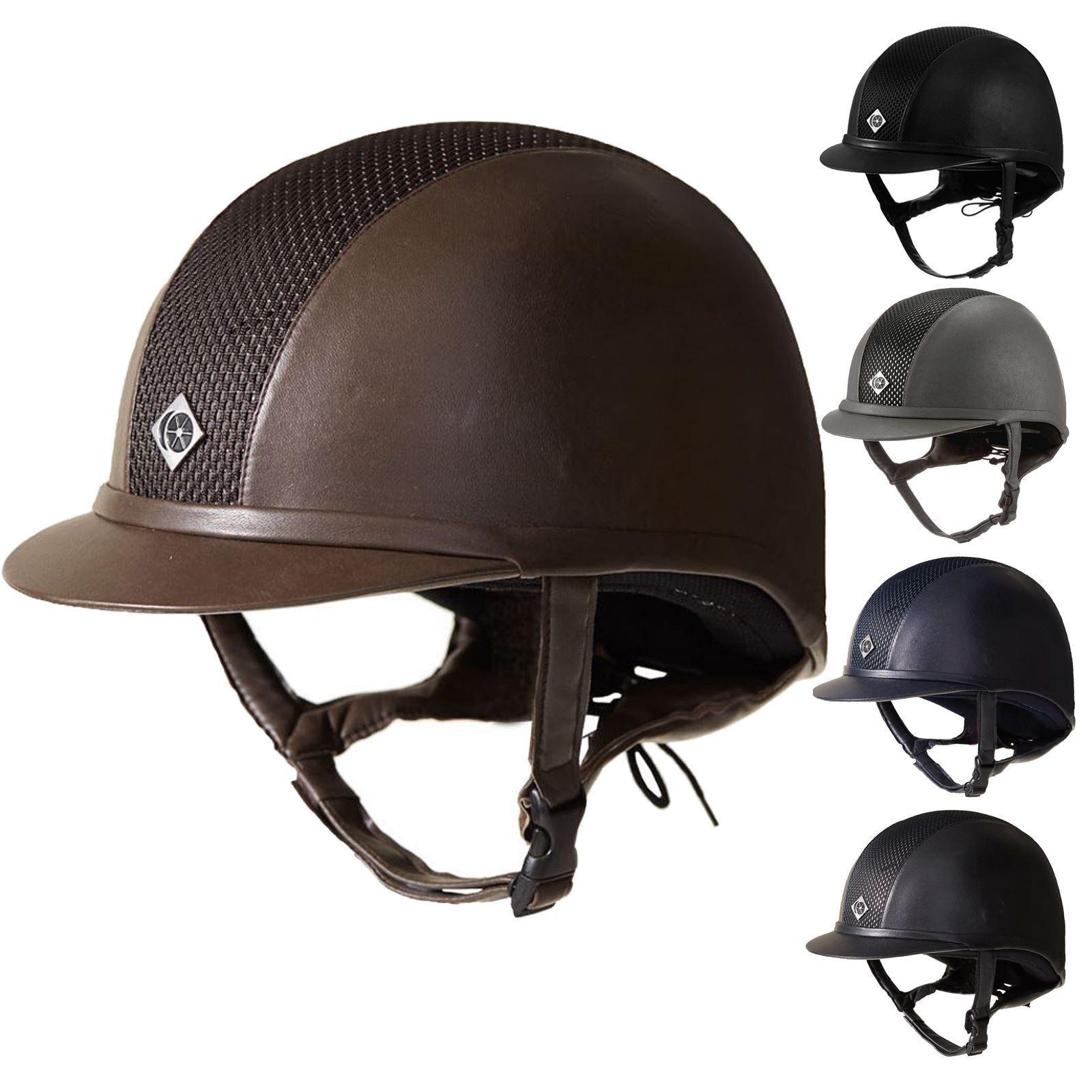 Charles Owen AYR8 Fau Cuero Equitación Doma mostrando casco de seguridad PAS015