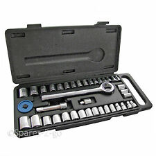 "40 Piece Mechanics Socket Wrench Set 1/4"" 3/8"" Extension Bar Metric SAE Tool Kit"